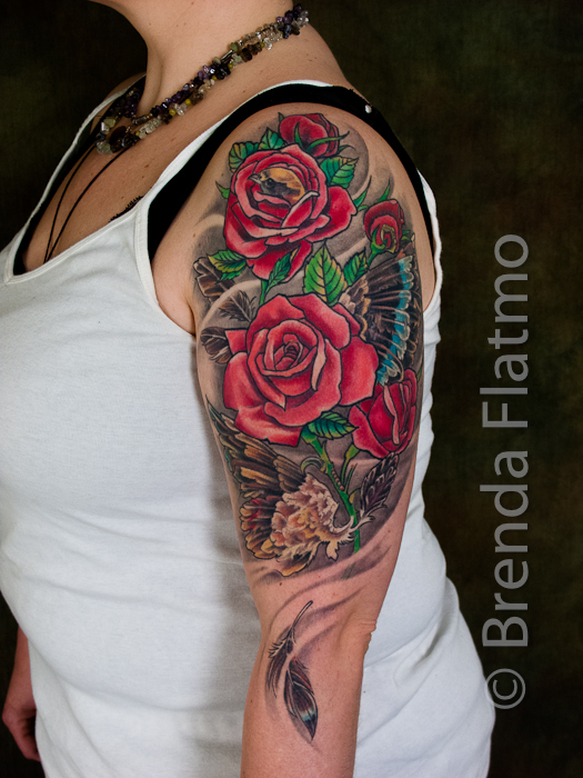 Group Of Color Tattoos Upper Arm